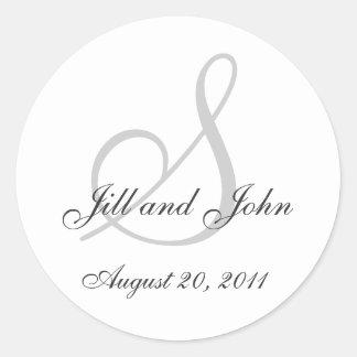Monogram Wedding Initial Bride Groom Seal Sticker