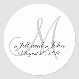 Monogram Wedding Initial Bride Groom Seal Stickers