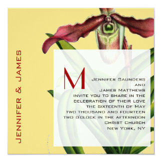Monogram Wedding Invitation Modern Orchid Yellow
