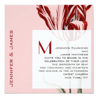 Monogram Wedding Invitation Modern Tulip
