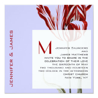 Monogram Wedding Invitation Modern Tulip Lilac