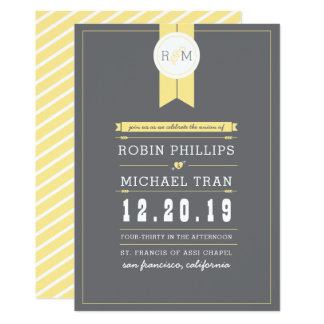 Monogram Wedding Invitation | Yellow & Gray