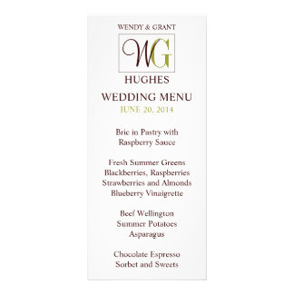Monogram Wedding Logo Reception Menu Card Rack Card