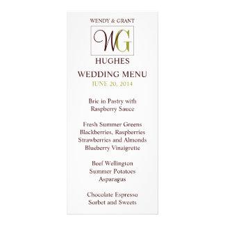 Monogram Wedding Logo Reception Menu Card Custom Rack Card