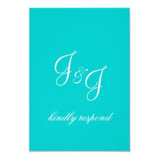 Monogram Wedding RSVP Card Aqua 9 Cm X 13 Cm Invitation Card
