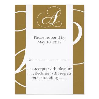 Monogram Wedding RSVP Card Gold 11 Cm X 14 Cm Invitation Card