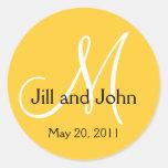 Monogram Wedding Save the Date Yellow Sticker