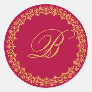 monogram wedding seal round sticker