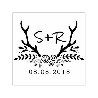 Monogram wedding stamp, save the date self-inking stamp