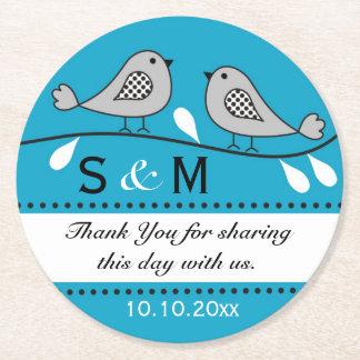 Monogram Wedding Thank You Blue Love Birds Round Paper Coaster