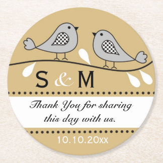 Monogram Wedding Thank You Gold Love Birds Round Paper Coaster