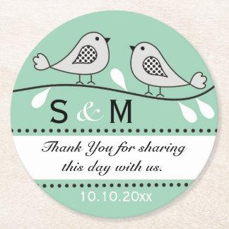 Monogram Wedding Thank You Green Love Birds Round Paper Coaster