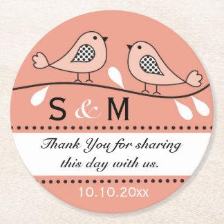 Monogram Wedding Thank You Peach Love Birds Round Paper Coaster