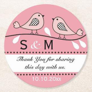 Monogram Wedding Thank You Pink Love Birds Round Paper Coaster