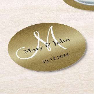 Monogram Wedding Thank You Shimmery Gold Round Paper Coaster