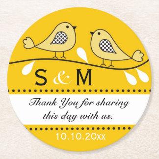 Monogram Wedding Thank You Yellow Love Birds Round Paper Coaster