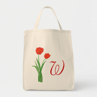Monogram Wedding tote bags, Red Tulips