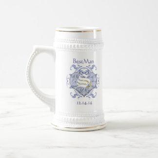 Monogram Wedding Vow Heart Beer Steins