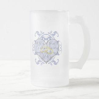 Monogram Wedding Vow Heart Frosted Glass Mug