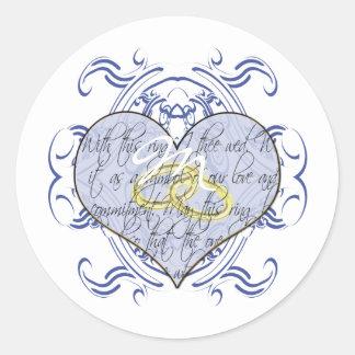 Monogram Wedding Vow Heart Round Sticker