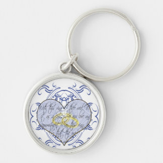 Monogram Wedding Vow Heart Silver-Colored Round Key Ring