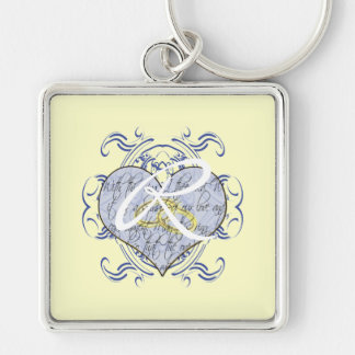 Monogram Wedding Vow Heart Silver-Colored Square Key Ring