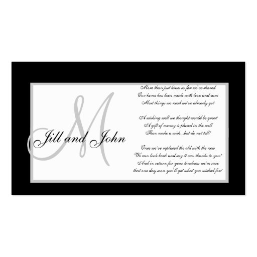 Monogram Wedding Wishing Well Cards Business Card Template