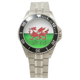 Monogram Welsh Flag, embossed dragon chrome-effect Wrist Watches