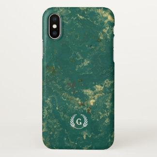 Monogram. Wheat Laurel on Green Marble. iPhone X Case