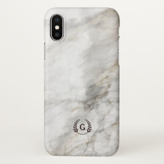 Monogram. Wheat Laurel on White Marble. iPhone X Case
