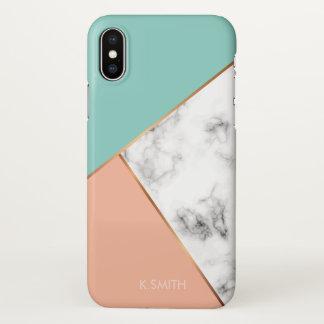Monogram. Wheat Laurel. White Marble Combination iPhone X Case