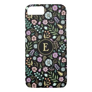 Monogram Whimsical Flowers Black iPhone 8/7 Case