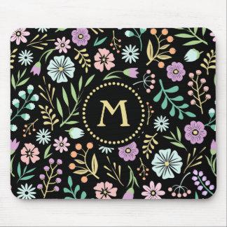 Monogram Whimsical Flowers on Black Mousepad