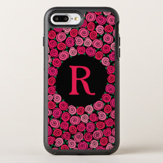 Monogram Whimsical Pink Roses Personalized OtterBox Symmetry iPhone 8 Plus/7 Plus Case