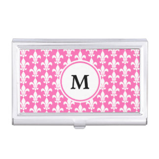 Monogram White and Hot Pink Fleur de Lis Pattern Business Card Holder