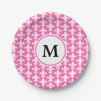 Monogram White and Hot Pink Fleur de Lis Pattern Paper Plate