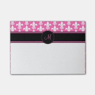 Monogram White and Hot Pink Fleur de Lis Pattern Post-it Notes