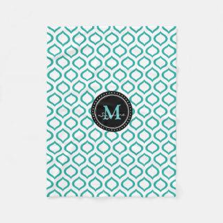 Monogram | White Aqua Trellis Pattern Fleece Blanket
