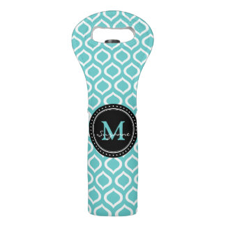 Monogram   White Aqua Trellis Pattern Wine Bag