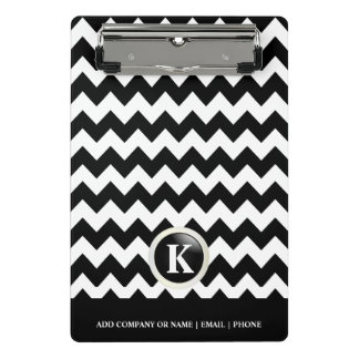Monogram White & Black Chevron Stripes