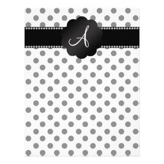 Monogram white black polka dots flyer