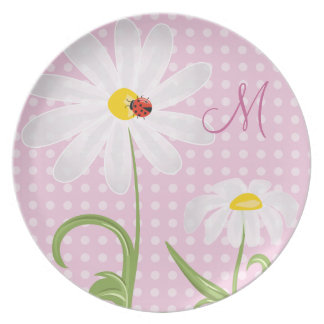 Monogram White Daisies and Lady Bug Polka Dot Pink Plates