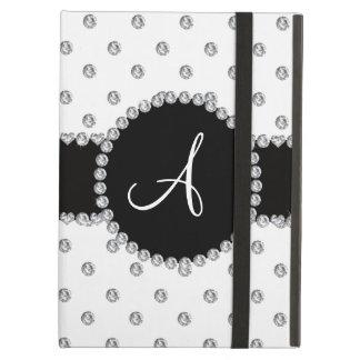 Monogram white diamonds polka dots case for iPad air