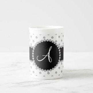 Monogram white diamonds polka dots porcelain mugs
