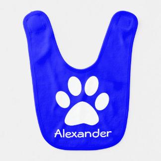 Monogram White Dog Cat Paw Print on Blue Baby Bibs