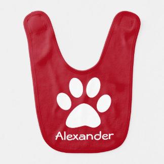 Monogram White Dog Cat Paw Print on Dark Red Baby Bib
