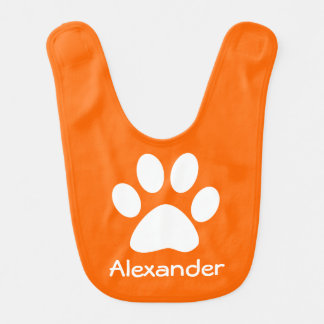 Monogram White Dog Cat Paw Print on Orange Bib