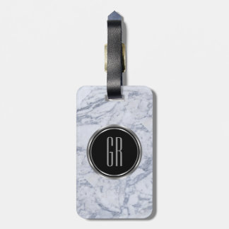 Monogram White Faux Marble Stone Pattern Luggage Tag