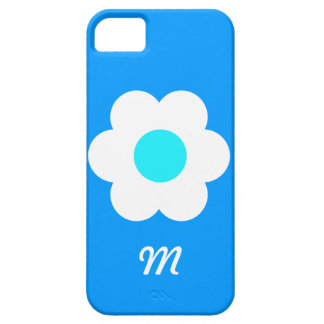 Monogram White Flower - Blue Barely There iPhone 5 Case
