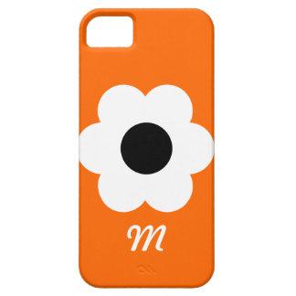 Monogram White Flower - orange Case For The iPhone 5